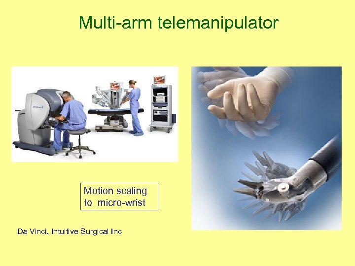 Multi-arm telemanipulator Motion scaling to micro-wrist Da Vinci, Intuitive Surgical Inc