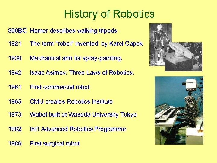 History of Robotics 800 BC Homer describes walking tripods 1921 The term