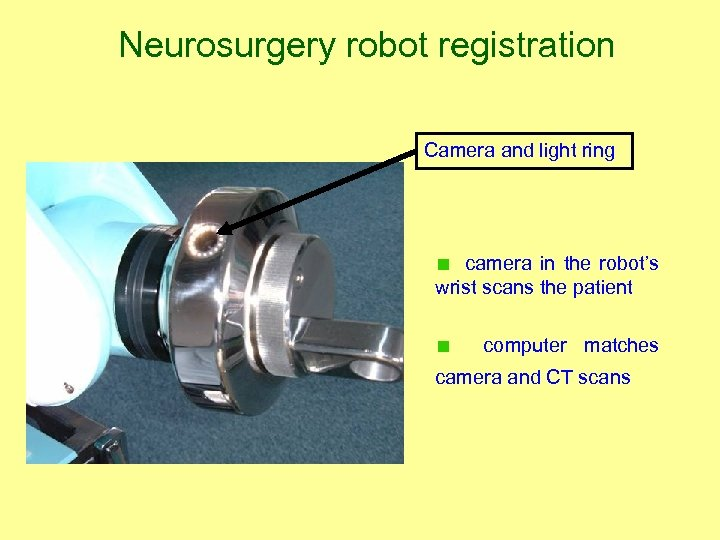 Neurosurgery robot registration Camera and light ring camera in the robot's wrist scans the