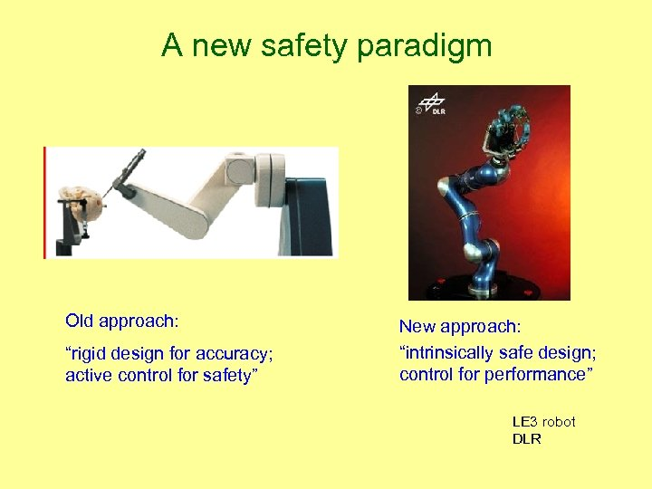 """A new safety paradigm Old approach: """"rigid design for accuracy; active control for safety"""""""