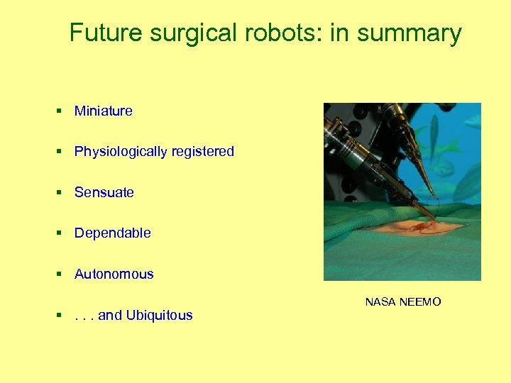 Future surgical robots: in summary § Miniature § Physiologically registered § Sensuate § Dependable