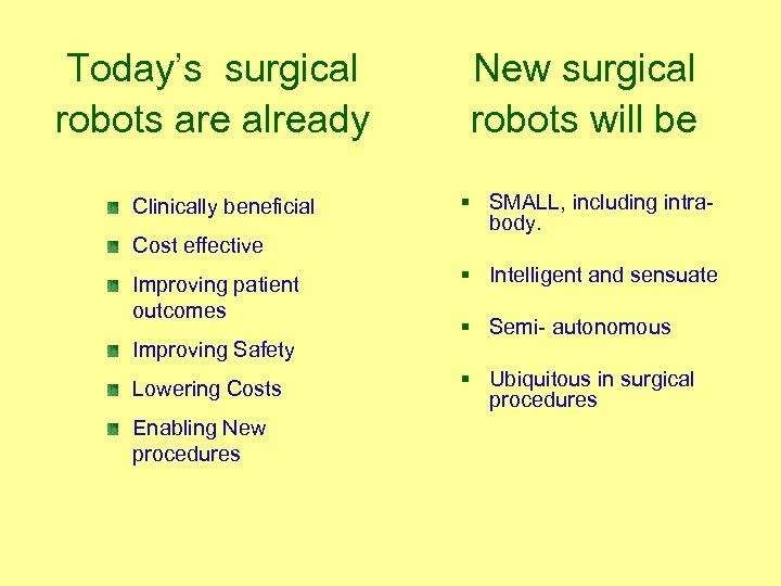 Today's surgical robots are already Clinically beneficial Cost effective Improving patient outcomes Improving Safety
