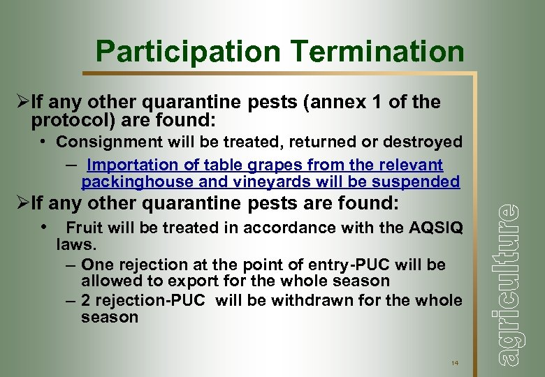 Participation Termination ØIf any other quarantine pests (annex 1 of the protocol) are found: