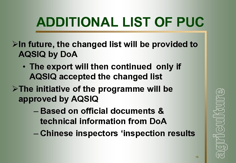 ADDITIONAL LIST OF PUC ØIn future, the changed list will be provided to AQSIQ