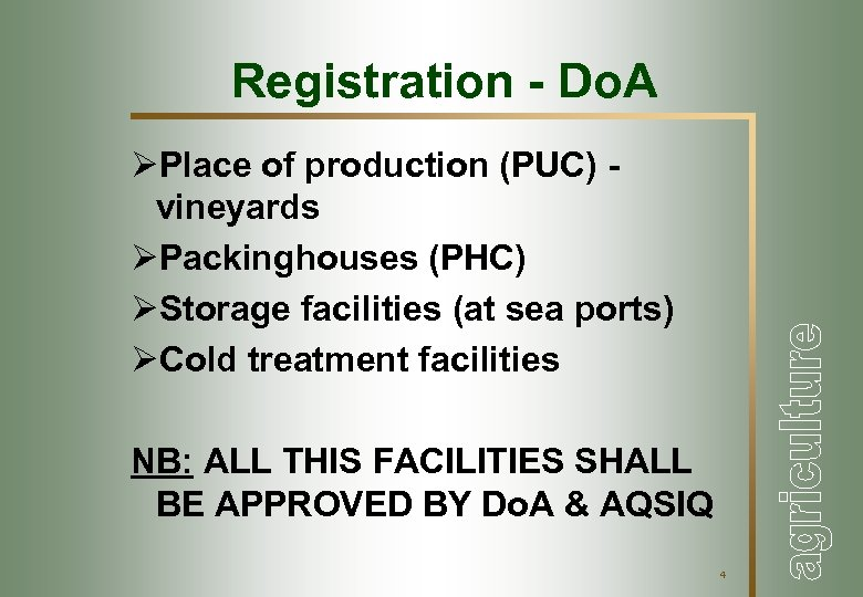 Registration - Do. A ØPlace of production (PUC) vineyards ØPackinghouses (PHC) ØStorage facilities (at