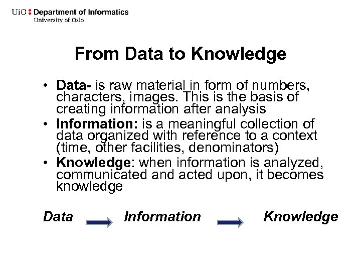 From Data to Knowledge • Data- is raw material in form of numbers, characters,