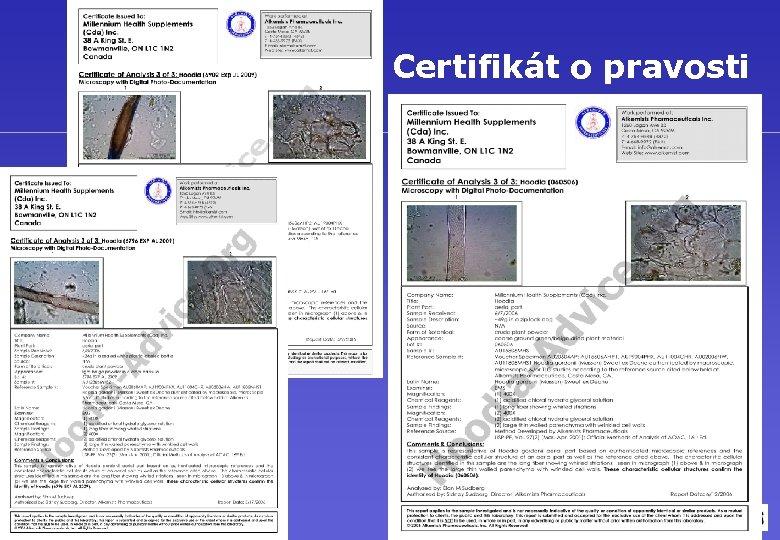 Certifikát o pravosti