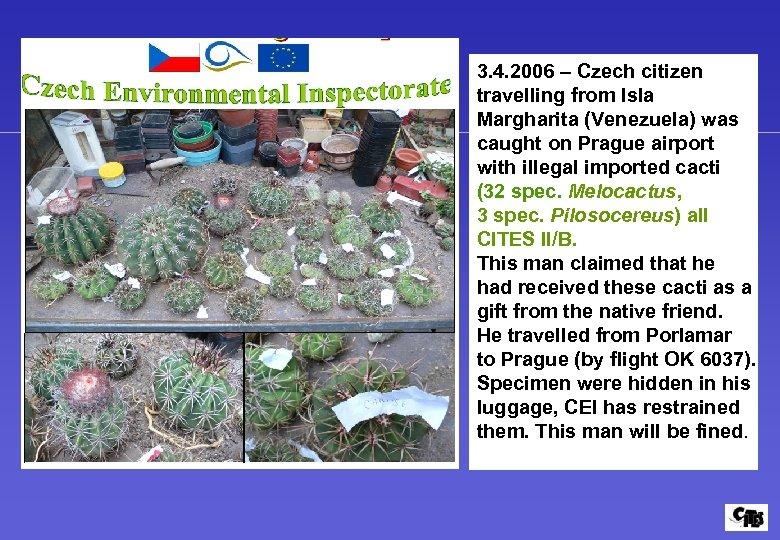 3. 4. 2006 – Czech citizen travelling from Isla Margharita (Venezuela) was caught on