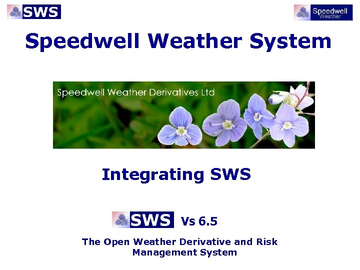Speedwell Weather System Integrating SWS Vs 6. 5 The Open Weather Derivative and Risk