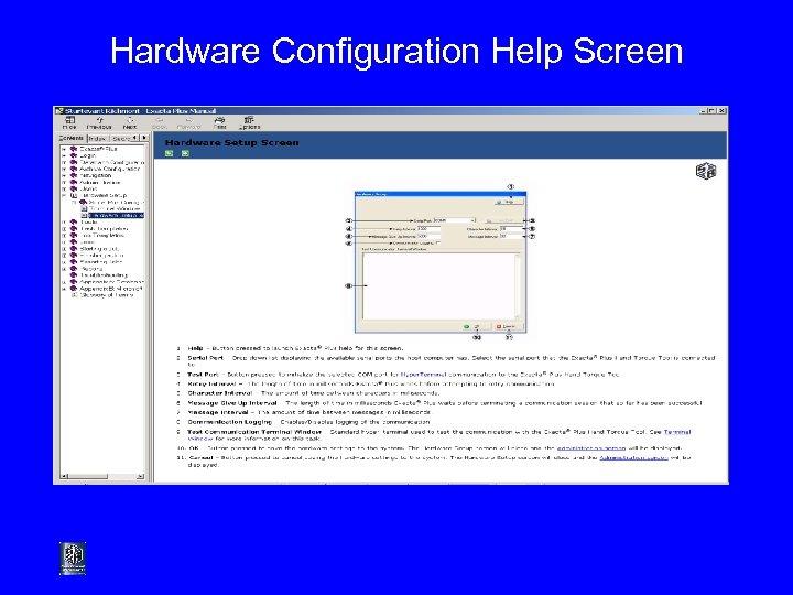 Hardware Configuration Help Screen
