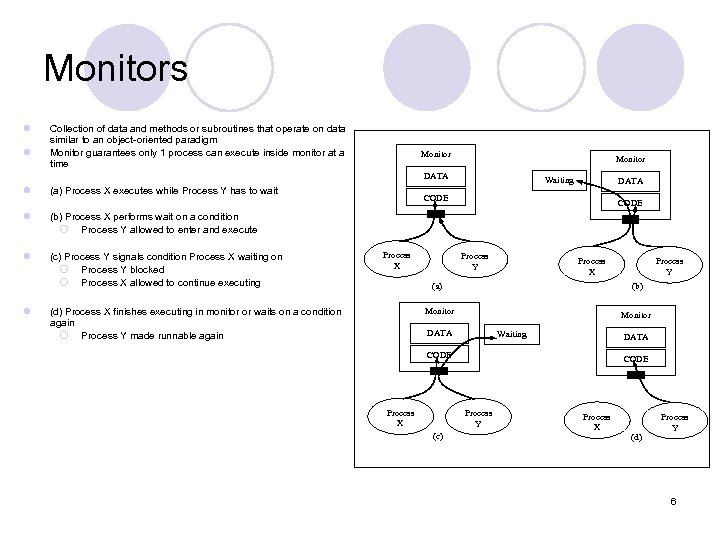 Monitors l l Collection of data and methods or subroutines that operate on data