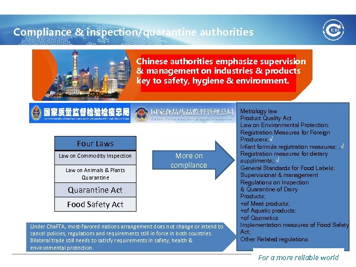 Compliance & inspection/quarantine authorities Chinese authorities emphasize supervision & management on industries & products