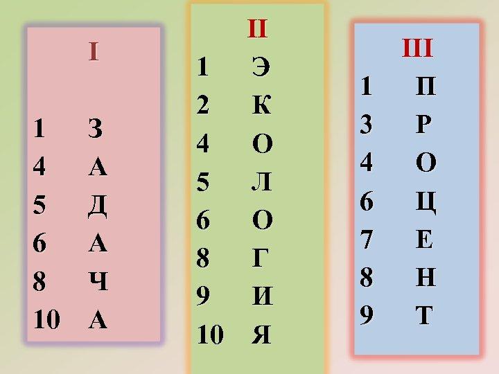 I 1 4 5 6 8 10 З А Д А Ч А II