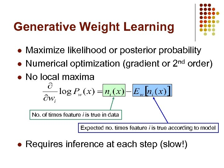 Generative Weight Learning l l l Maximize likelihood or posterior probability Numerical optimization (gradient