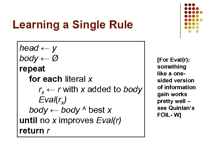 Learning a Single Rule head ← y body ← Ø repeat for each literal