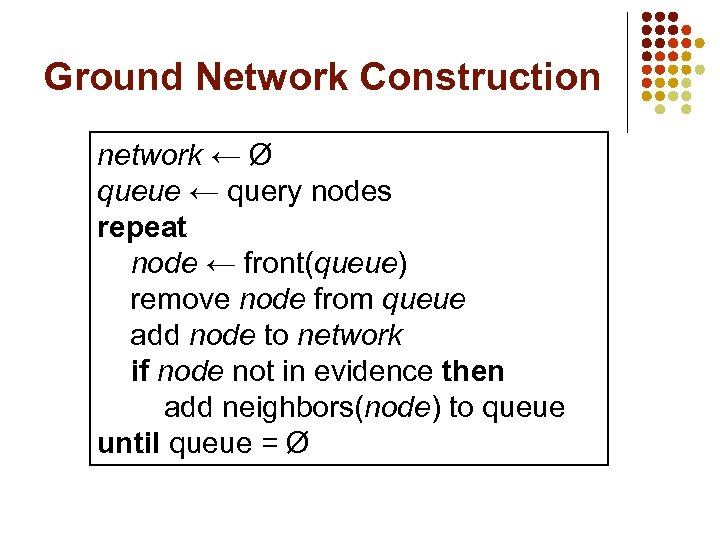 Ground Network Construction network ← Ø queue ← query nodes repeat node ← front(queue)