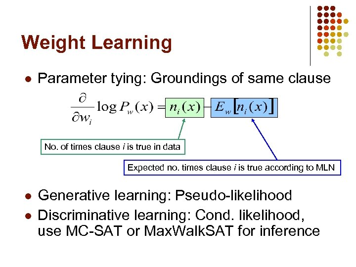 Weight Learning l Parameter tying: Groundings of same clause No. of times clause i