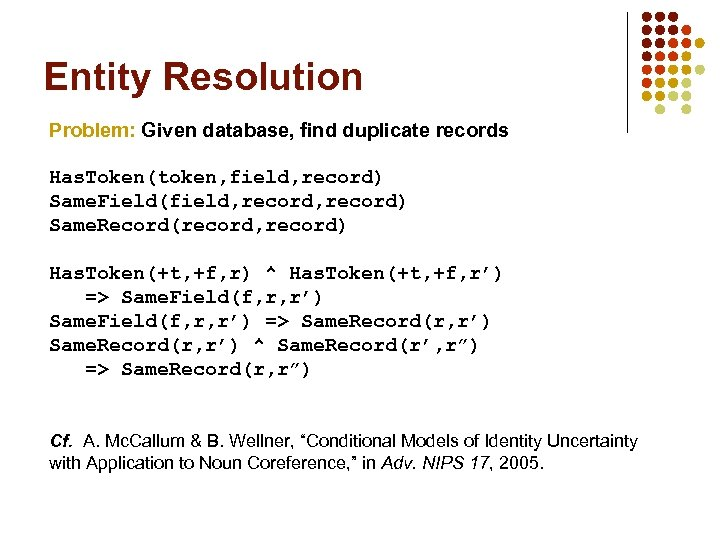 Entity Resolution Problem: Given database, find duplicate records Has. Token(token, field, record) Same. Field(field,