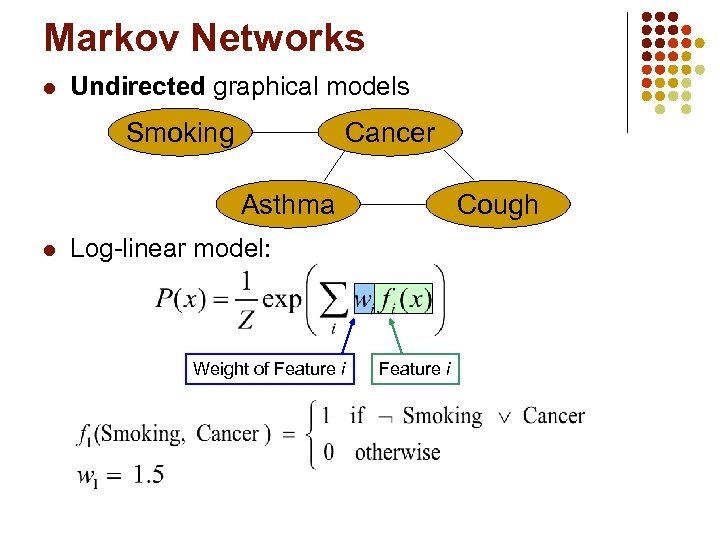 Markov Networks l Undirected graphical models Smoking Cancer Asthma l Cough Log-linear model: Weight