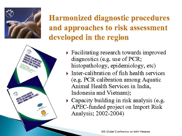 Harmonized diagnostic procedures and approaches to risk assessment developed in the region Facilitating research