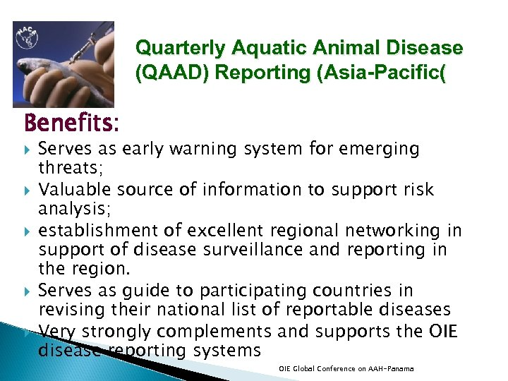 Quarterly Aquatic Animal Disease (QAAD) Reporting (Asia-Pacific( Benefits: Serves as early warning system for