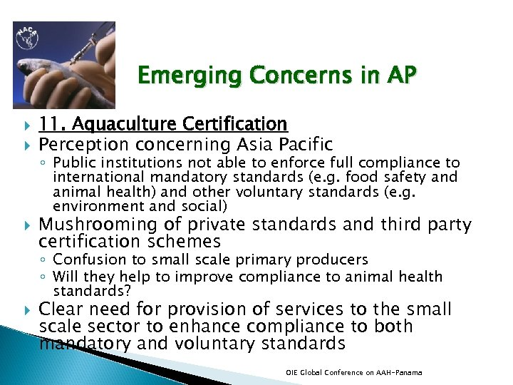Emerging Concerns in AP 11. Aquaculture Certification Perception concerning Asia Pacific ◦ Public institutions