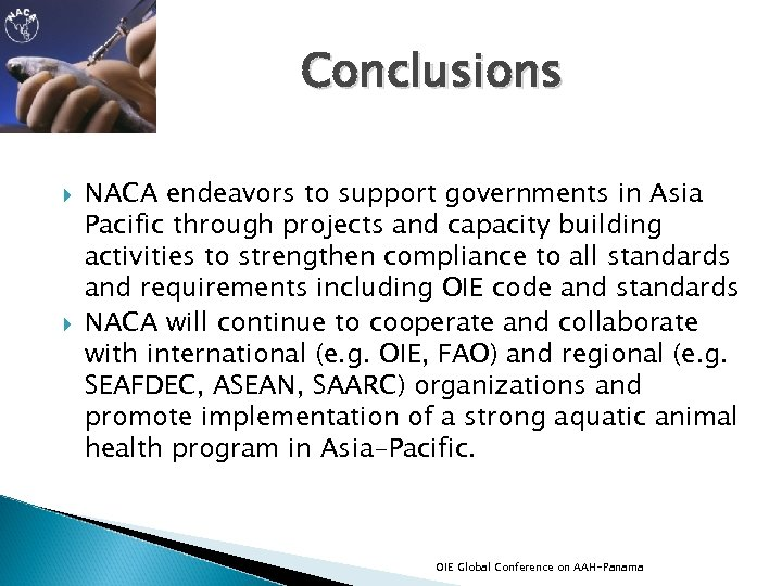 Conclusions NACA endeavors to support governments in Asia Pacific through projects and capacity building