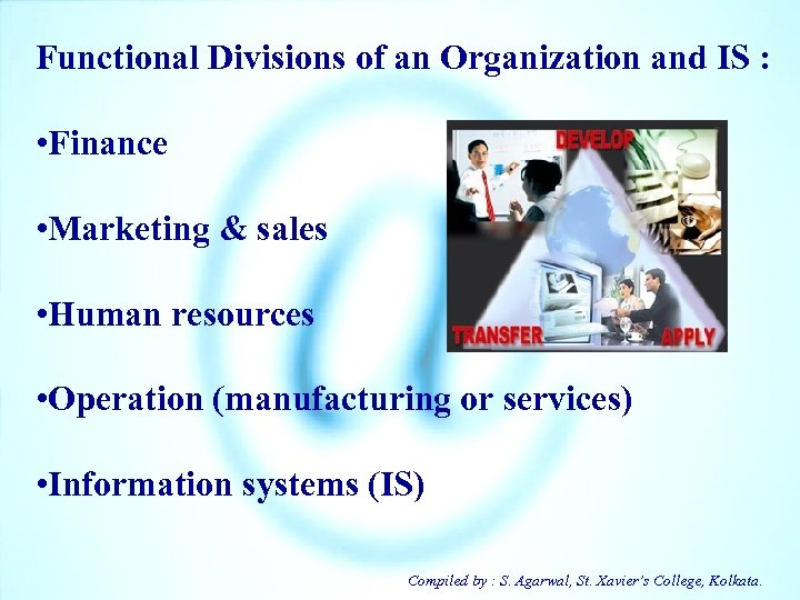 Functional Divisions of an Organization and IS : • Finance • Marketing & sales