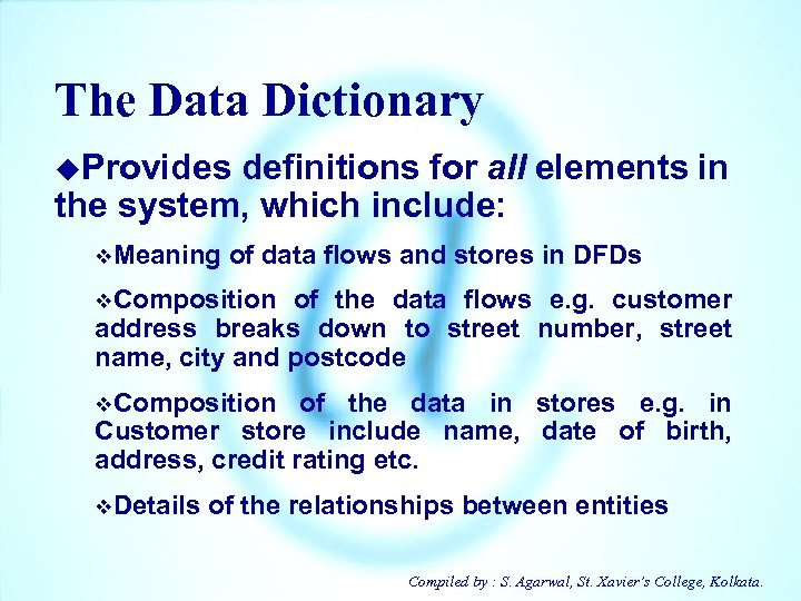 The Data Dictionary u. Provides definitions for all elements in the system, which include: