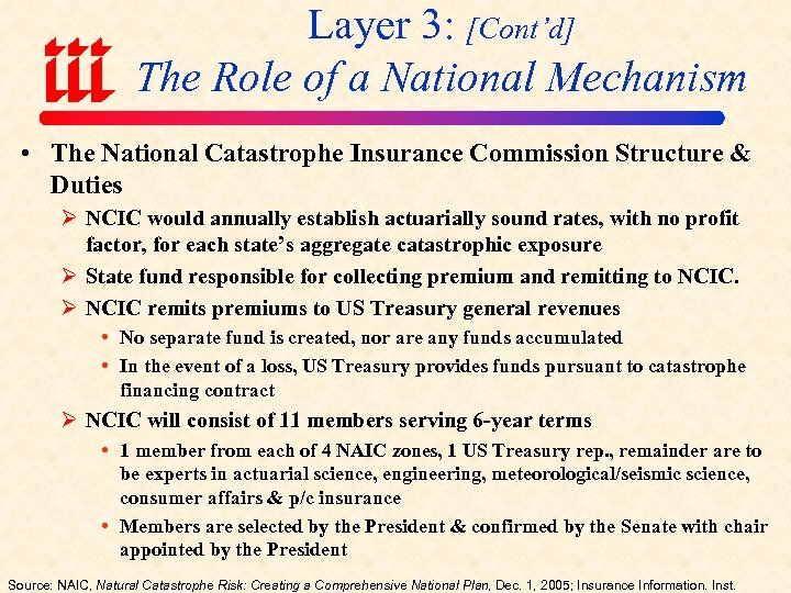 Layer 3: [Cont'd] The Role of a National Mechanism • The National Catastrophe Insurance