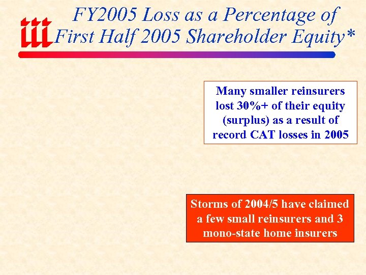 FY 2005 Loss as a Percentage of First Half 2005 Shareholder Equity* Many smaller