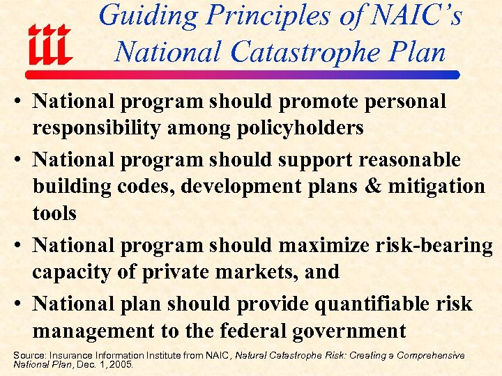 Guiding Principles of NAIC's National Catastrophe Plan • National program should promote personal responsibility