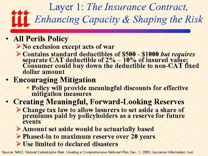 Layer 1: The Insurance Contract, Enhancing Capacity & Shaping the Risk • All Perils