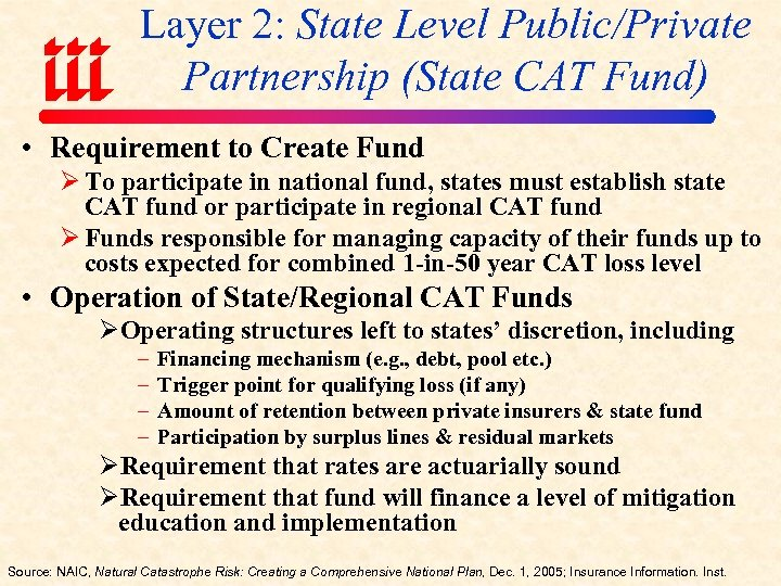 Layer 2: State Level Public/Private Partnership (State CAT Fund) • Requirement to Create Fund