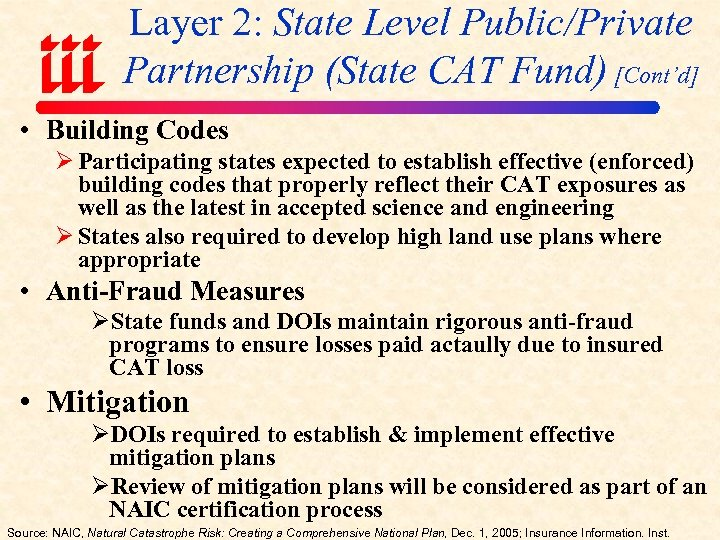 Layer 2: State Level Public/Private Partnership (State CAT Fund) [Cont'd] • Building Codes Ø