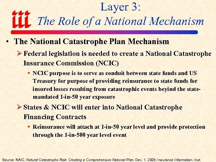 Layer 3: The Role of a National Mechanism • The National Catastrophe Plan Mechanism
