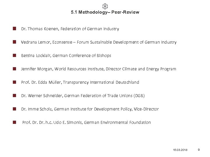 5. 1 Methodology– Peer-Review Dr. Thomas Koenen, Federation of German Industry Vedrana Lemor, Econsense