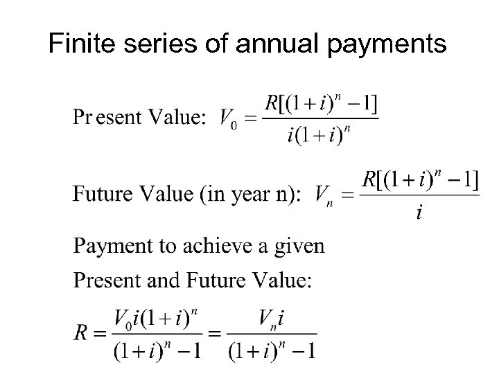 Finite series of annual payments