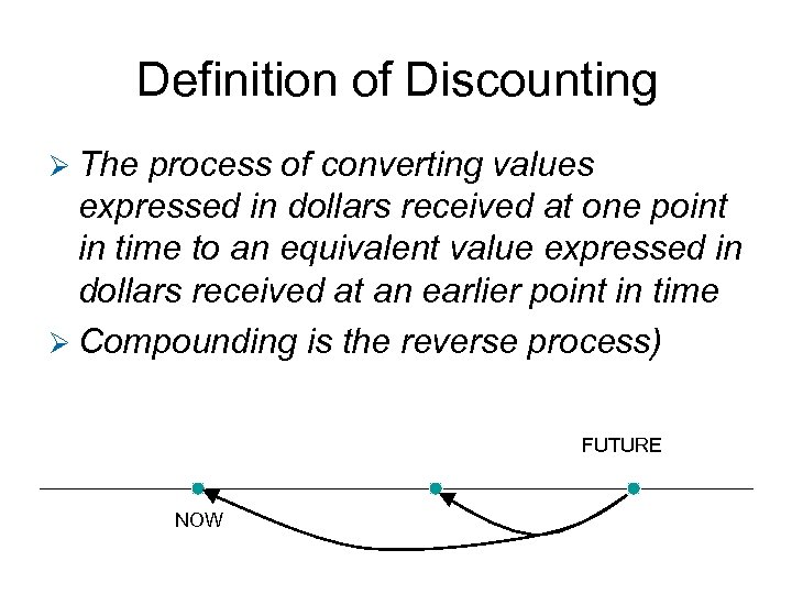 Definition of Discounting Ø The process of converting values expressed in dollars received at