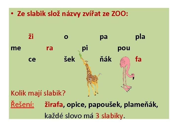 • Ze slabik slož názvy zvířat ze ZOO: ži me o ra ce