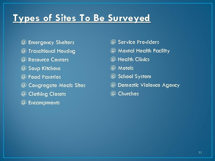 Types of Sites To Be Surveyed @ Emergency Shelters @ Transitional Housing @ Resource