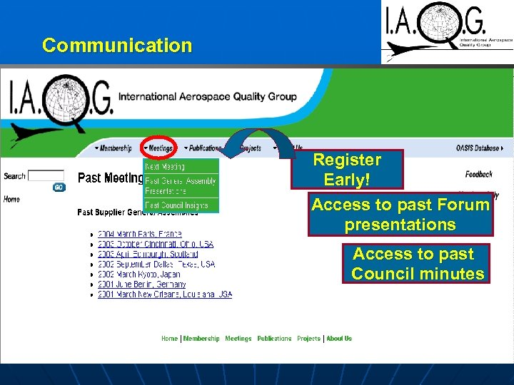 Communication Register Early! Access to past Forum presentations Access to past Council minutes
