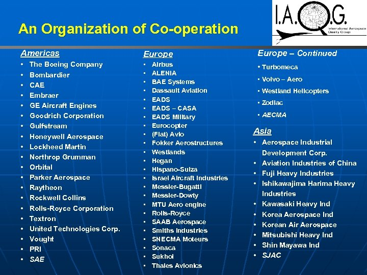 An Organization of Co-operation Americas Europe – Continued • • • • • •