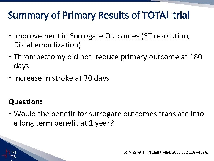 Summary of Primary Results of TOTAL trial • Improvement in Surrogate Outcomes (ST resolution,