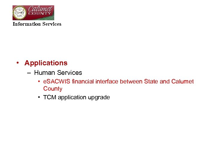 Information Services • Applications – Human Services • e. SACWIS financial interface between State