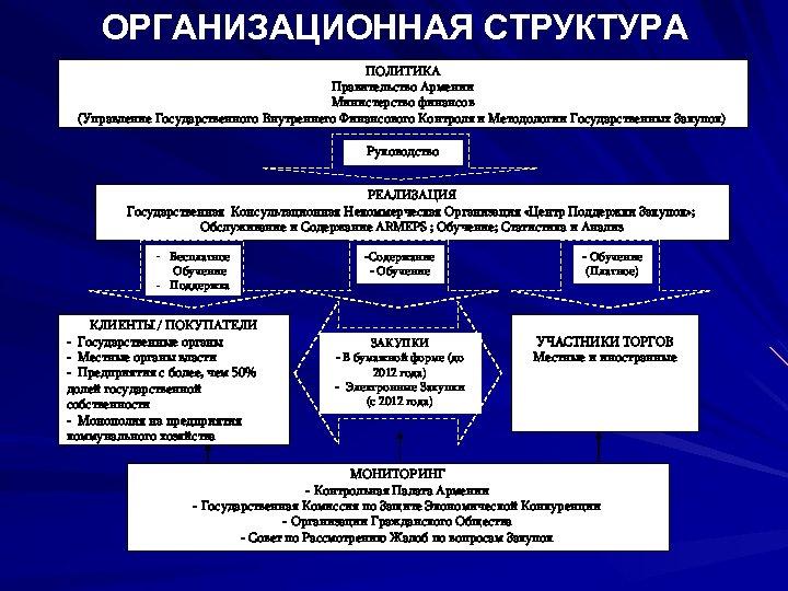 ОРГАНИЗАЦИОННАЯ СТРУКТУРА ПОЛИТИКА Правительство Армении Министерство финансов (Управление Государственного Внутреннего Финансового Контроля и Методологии