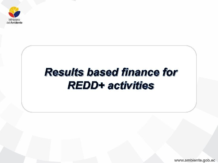 Results based finance for REDD+ activities