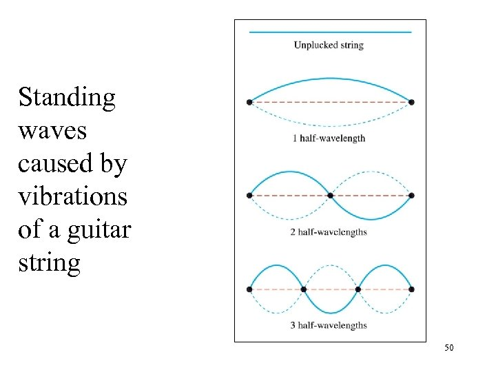 Standing waves caused by vibrations of a guitar string 50