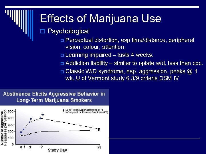 Effects of Marijuana Use o Psychological p Perceptual distortion, esp time/distance, peripheral vision, colour,