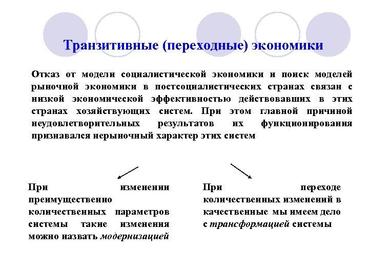 Транзитивные (переходные) экономики Отказ от модели социалистической экономики и поиск моделей рыночной экономики в